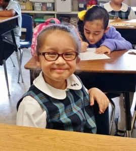 One of the many happy faces at St. Nicholas of Tolentine Catholic school