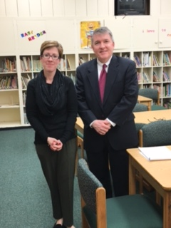 Principal Jennifer Adamski with the host Bill McNamee